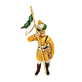 18k Yellow Gold Enamel Soldier Brooch