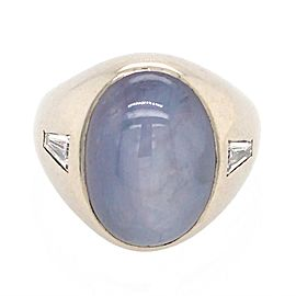 14k White Gold Gents Star Sapphire and Diamond Ring