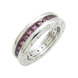 Bulgari 18K White Gold B 4 Band Ring Size Small