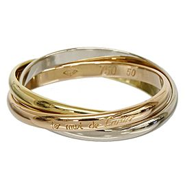Cartier 18K Pink White And Yellow Gold Ring Size: 5.5