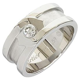 Cartier 18K White Gold Diamond 2C Motif Band Ring Size 9