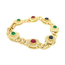 18k Yellow Gold Cabochon, Rubies, Emerald and Sapphire and Diamond Bracelet