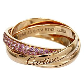 Cartier Trinity de Cartier 18K Rose Gold Ring And Pink Sapphire Three Band Size 3.75