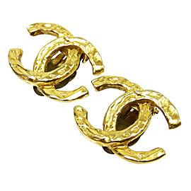 Chanel CC Logo Gold Tone Metal Earrings