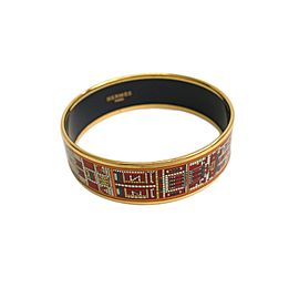 Hermes Enamel Cloisonne Palladium Wide Bangle Bracelet