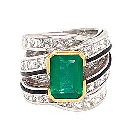 Estate 18k White Gold Emerald and Diamond 3 Row Ring