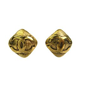 Chanel Gold Tone Metal Coco CC Logo Earrings