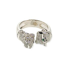 Cartier 18K White Gold 2 Heads Panthere Diamond, Onyx and Emerald Ring
