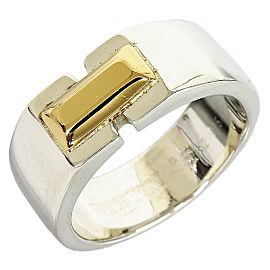 Hermes 925 Sterling Silver 18K Yellow Gold Ring