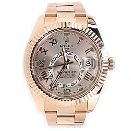 Rolex Sky-Dweller 42mm 18K Rose Gold Watch with Sundust Roman Dial Mens 326935