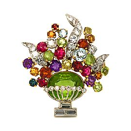 18k Yellow Gold Tutti Fruti Bouquet Multi Colored Gems Brooch