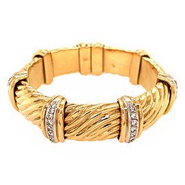 Bulgari 18k Yellow Gold Diamond Cuff Vintage Bracelet