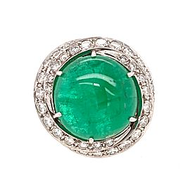Impressive Platinum Cabochon Emerald and Diamond Ring