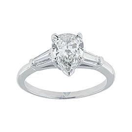 Platinum 1.40 Carat H VS1 Gia Certified Pear Shaped Diamond Engagement Ring