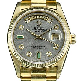 Rolex Day-Date 18038 18K Yellow Gold Custom Meteorite Dial with Emerald Automatic Vintage 36mm Mens Watch