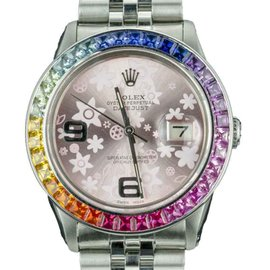 Rolex Datejust 16014 Stainless Steel / 18K White Gold with Flower Dial Vintage 36mm Mens Watch