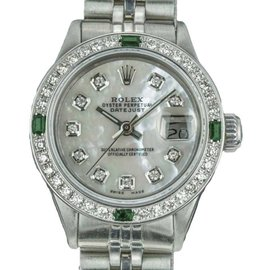 Rolex Datejust 6917 Stainless Steel with White Mother Of Pearl Diamond Dial Vintage 26mm Womens Watch