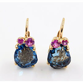 Pomellato 18K Rose Gold Topaz, Sapphire, Diamond Earrings