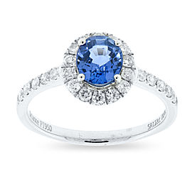 950 Platinum with 1.22ct. Blue Sapphire and 0.45ct. Diamond Ring Size 7.0