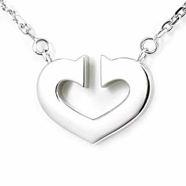 Cartier 18K White Gold Double C Heart Pendant Necklace CHAT-103