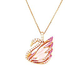 Swarovski Pink Faithful Swan Pendant with Chain Necklace