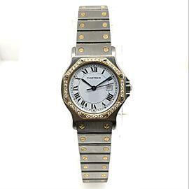 CARTIER SANTOS OCTAGON Automatic 31mm 18K Yellow Gold & Steel DIAMOND Bezel Watch