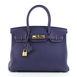 Hermes Birkin Handbag Bleu Encre Togo with Gold Hardware 30