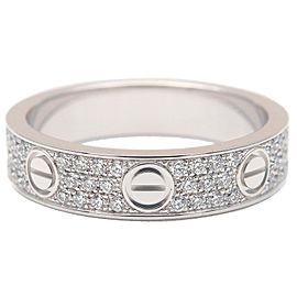 Cartier Mini Love Ring Pave Diamond K18 White Gold #48 US4.5