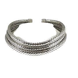 John Hardy 925 Sterling Silver Triple Row Dot Coil Choker Necklace