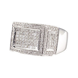 18K White Gold with Diamond Plaque Ring Size 11.25