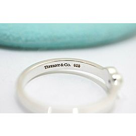 Tiffany & Co. Sterling Silver Paloma Picasso Heart 1P Diamond Ring Size 7