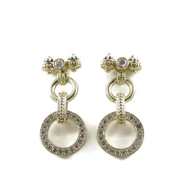 Lagos 925 Sterling Silver 18K Yellow Gold 1.00ct Diamond Bow Drop Earrings