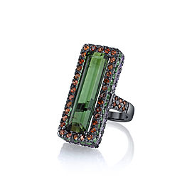 Bochic 18K Gold Rhodium Plated Green Tourmaline, Sapphires & Garnet Cocktail Ring Size 5