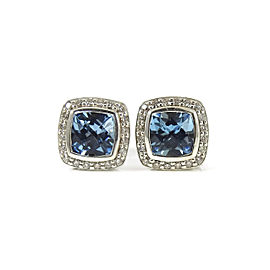 David Yurman Sterling Silver 7mm Blue Topaz and 0.40ct Diamond Petite Albion Earrings Earrings