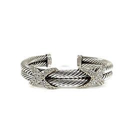 David Yurman Sterling Silver 18K Yellow Gold .85tcw 2-Row Pave Diamond XX Cuff Bracelet