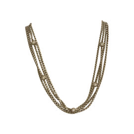 David Yurman Sterling Silver and 18K Yellow Gold with 1ct. Diamond 4 Row Chain Necklace