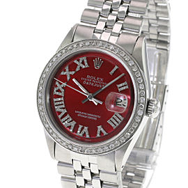 Rolex Men's Watch 36mm Datejust Stainless Steel Red Roman Diamond Bezel