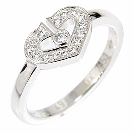 Cartier 18K White Gold Diamond Double C C2 Heart Ring CHAT-139