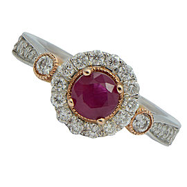 14K White and Rose Gold Ruby Diamond Engagement Vintage Ring Size 6