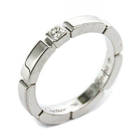 CARTIER Maillon Panthere 1P Diamond 18K White Gold Ring Size 4