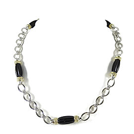 Lagos Sterling Silver & 18K Yellow Gold Black Onyx Caviar Rouche Link Necklace