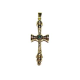 10K Yellow Gold & Green Diamond Cross Pendant