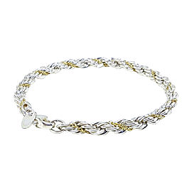 Tiffany & Co. 925 Sterling Silver & 18K Yellow Gold Rope Bracelet