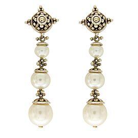 John Hardy 925 Sterling Silver 18k Yellow Gold Pearl Earrings