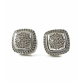 David Yurman Sterling Silver 1.20tcw 11mm Pave Diamond Albion Earrings - Clip On