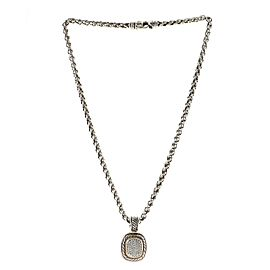 David Yurman Albion Enhancer Pendant Necklace Sterling Silver with 18K Yellow Gold and Pave Diamonds 19mm