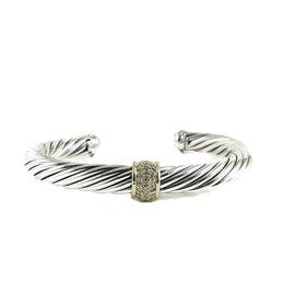 David Yurman Sterling Silver 18K Yellow Gold 0.21tcw Diamond 7mm Cable Classic Bracelet