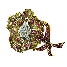 18K Yellow Gold with 1.5ctw. Diamond and 3ctw. Ruby Flower Brooch