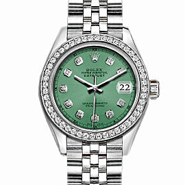 Rolex Datejust Stainless Steel with Custom Bezel and Light Green Dial 36mm Mens Watch