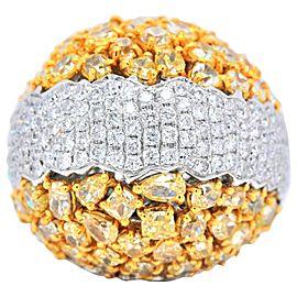 18 Karat White Gold Natural Yellow Diamond Cluster Anniversary Ring Wedding Band